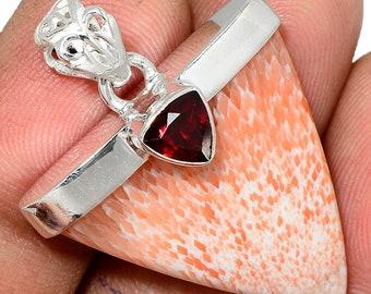 Orange Scolecite Pendant Garnet Necklace  925 Sterling Silver Crystal  Boho Jewelry P441