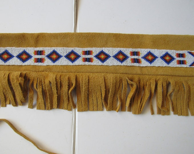 Pipe Leather Bag Fringed Flute Bag Beaded Bag Tribal Pow Wow Rendezvous Native Inspired 1