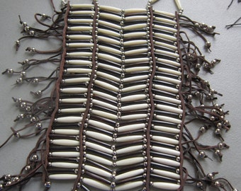 40 Row White/Brown Buffalo Bone Breastplate Chest plate Geronimo Regalia Pow Wow Indian