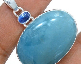 Aquamarine Pendant Kyanite Necklace 925 Sterling Silver  Crystal Jewelry P302