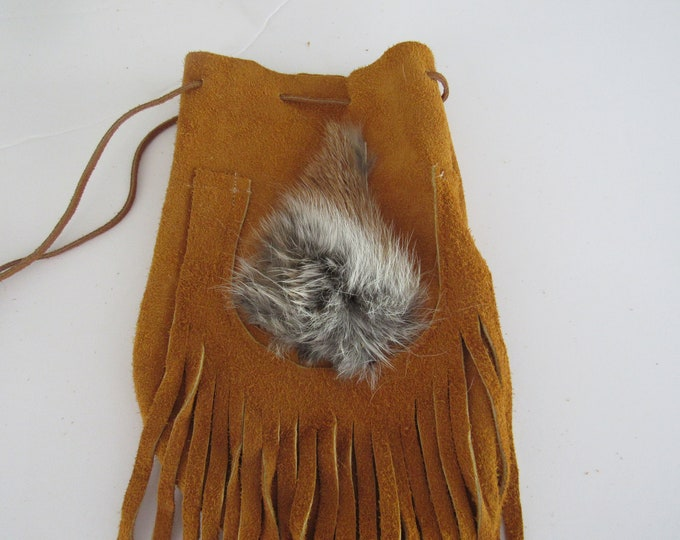 Possibles  Half Moon Drawstring Leather Bag w/ Coyote Fur Possibles Bag Rendezvous  Mountain Medicine Man