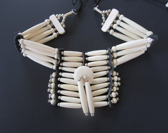 Buffalo Bone Breastplate Choker Buffalo Bone Regalia Choker Indian Hairpipe Choker Native Necklace White