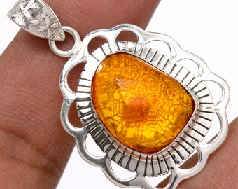 Baltic Amber Pendant Baltic Amber Necklace  Authentic  925 Sterling Silver Boho Jewelry P308