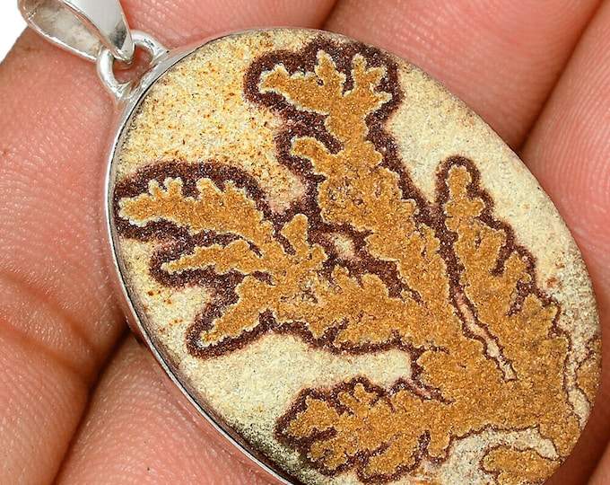 German Dendrite Agate Pendant Dendrite Crystal Necklace  Sterling Silver Crystal Boho Jewelry P488