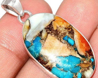 Spiny Oyster Pendant Necklace Turquoise Pendant  925 Sterling Silver Southwestern Jewelry P536