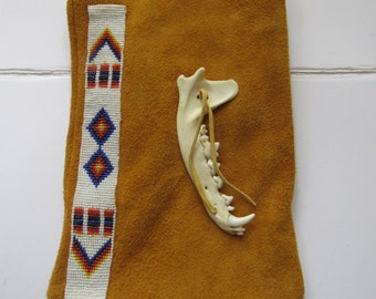 Possibles Pouch Belt Bag  Glass Beadstrip & Coyote Jawbone  Leather Rendezvous Long Hunter Mountain Man