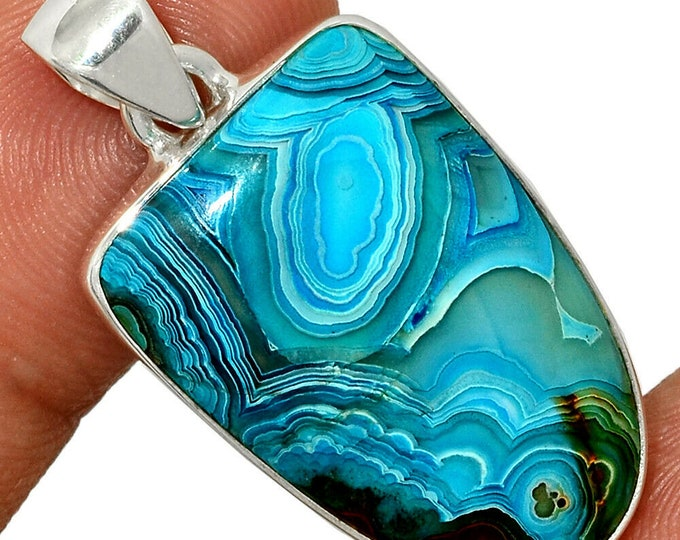 Mexican Laguna Lace Agate  Pendant Agate Necklace  925 Sterling Silver Boho Jewelry P463