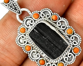 Black Tourmaline Pendant Coral Necklace 925 Sterling Silver Chakra Protection Spiritual Jewelry P327