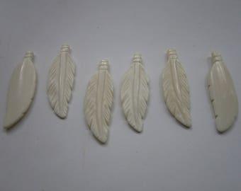 Feather Pendants Buffalo Bone 2 3/4 Pendants Charms Beads Animal Jewelry 908