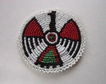 "3"" Glass Beaded Thunderbird  Rosette Medallion Tribal Regalia Beadwork Craft 9C"