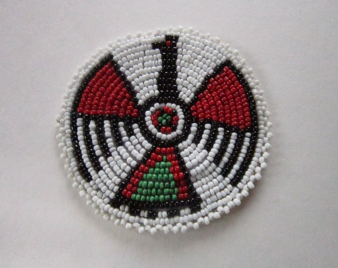 "3"" Glass Beaded Thunderbird  Rosette Medallion Tribal Regalia Beadwork Craft 9C"