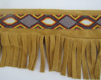 Pipe Leather Bag Fringed Flute Bag Beaded Bag Tribal Pow Wow Rendezvous Native Inspired 3