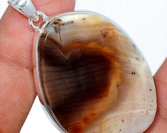 14g Araucaria  Petrified Wood  Pendant Fossil Necklace 925 SS Natural Boho Jewelry P407