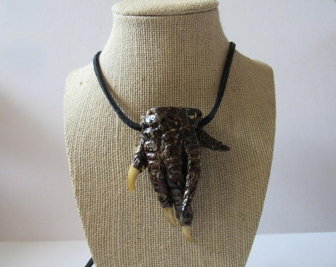 Alligator Foot Necklace Gator Foot Jewelry Animal Bone Jewelry  VooDoo Necklace N881