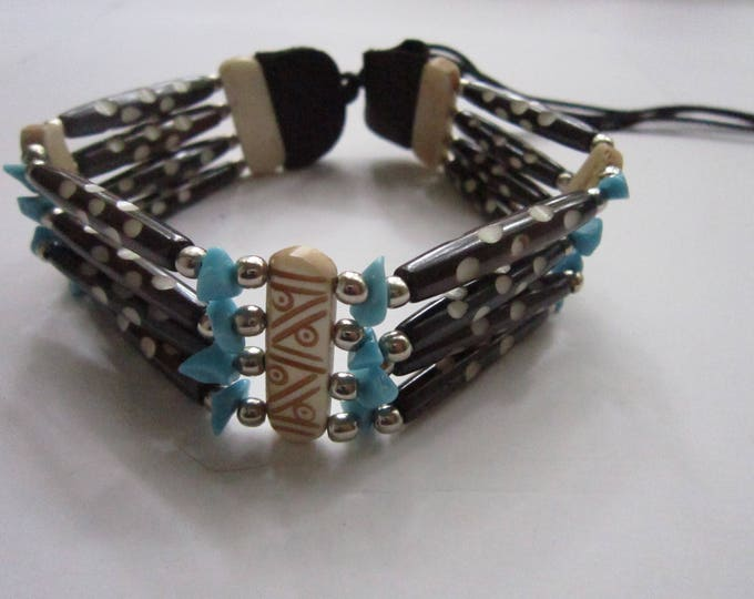 Turquoise & Brown  Choker Buffalo Bone Geronimo Regalia Pow Wow Indian