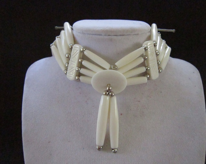 White Choker Buffalo Bone Geronimo Regalia Pow Wow Indian
