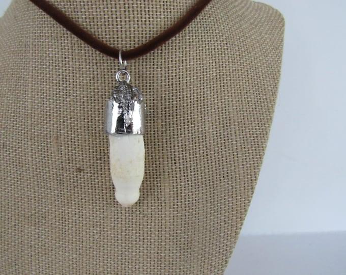 Alligator Tooth Gator Pendant Animal Bone Chain Necklace Jewelry Statement N1405