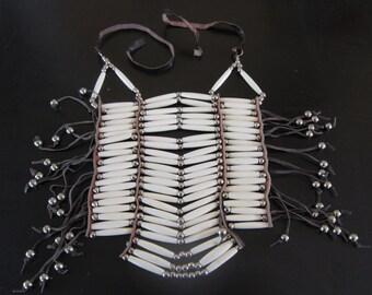 20 Row White Buffalo Bone Breastplate Chest Armour Geronimo Regalia Pow Wow Indian