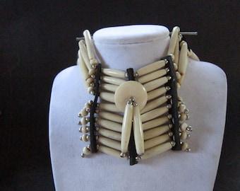 Buffalo Bone Breastplate Choker Buffalo Bone Boho Choker Indian Hairpipe Choker Native Necklace Antique White