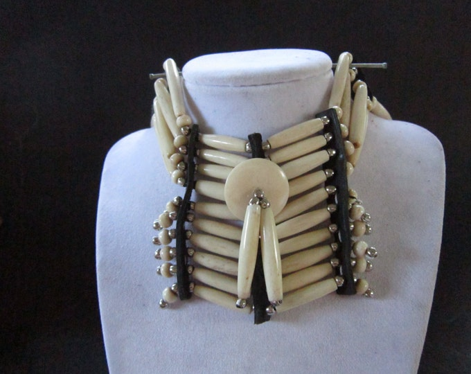 Buffalo Bone Breastplate Choker Buffalo Bone Boho Choker Indian Hairpipe Choker Native Necklace Antique White
