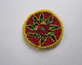 Beaded Rosette Medallion Tribal Regalia Bead work Leather Craft Regalia 4D