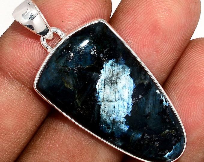 Black Moonstone Pendant Larvikite Necklace 925 Sterling Silver Crystal Boho Jewelry P412