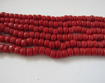Glass Crow Pony Beads 9mm x 6mm Dark Red 100 per strand Jewelry/Craft Projects