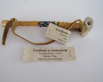 Navajo Antler Pipe Peace Mixed Beaded Deer Antler Buckskin Hippie Pipe  Handcrafted COA 2