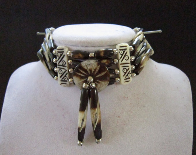 Buffalo Bone Choker Bone Necklace Two Tone Regalia Native Necklace Tribal Choker Boho Jewelry