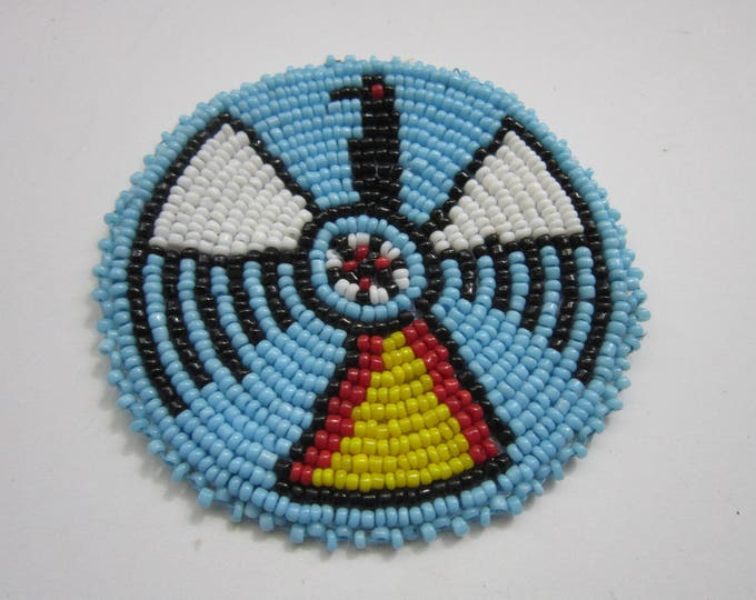 3 Glass Beaded Thunderbird  Rosette Medallion Tribal Regalia Beadwork Craft 9E