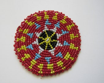 Beaded Rosette Medallion Tribal Regalia Beadwork Craft Sewing Leather Patch 5A