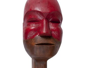 Red Face  War Club Ball Head Dance Stick Staff Weapon Native Handcarved Hardwood Tribal Decor