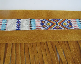 Pipe Leather Bag Fringed Flute Bag Beaded Bag Tribal Pow Wow Rendezvous Native Inspired 2