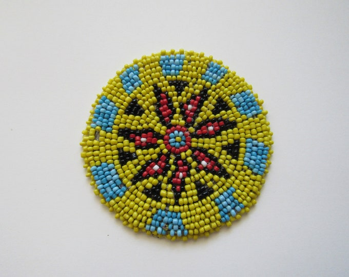 Beaded Rosette Medallion Tribal Regalia Beadwork Craft Sewing Leather Patch 10C