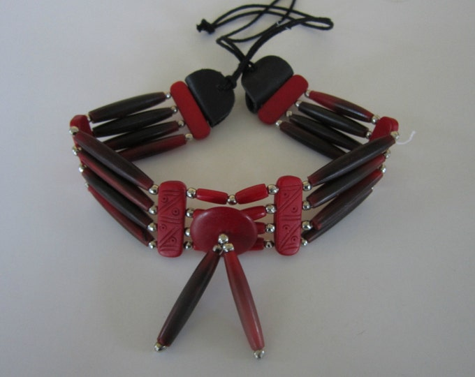 Buffalo Bone Choker Bone Necklace Red Hairpipe Native Necklace Tribal Choker Boho Jewelry