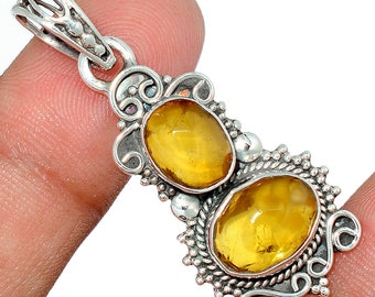 Baltic Amber Pendant  Necklace  Authentic  925 Sterling Silver Boho Jewelry P381