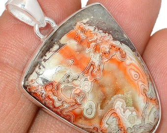 Mexican Laguna Lace Agate  Pendant Agate Necklace  925 Sterling Silver Boho Jewelry P627