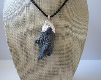 Black Kyanite Pendant Amethyst Necklace  Silver Jewelry Crystal Boho Jewelry N892