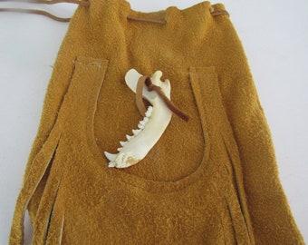 Possibles  Half Moon Drawstring Leather Bag w/ Badger Jaw Bone Possibles Bag Rendezvous  Mountain Medicine Man