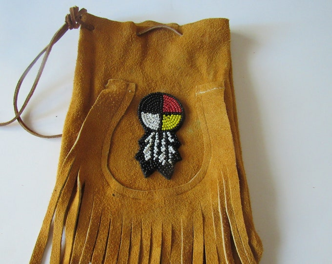 X Large Possibles  Half Moon Bag Draw String Bag Leather Medicine Wheel Feather  Rendezvous  Tribal Mountain Man