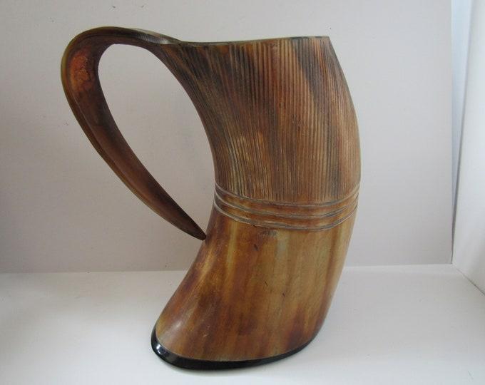 "Huge 9 1/4"" Buffalo Horn Mug Stein Cup Viking Medieval Carved Polished Rustic"