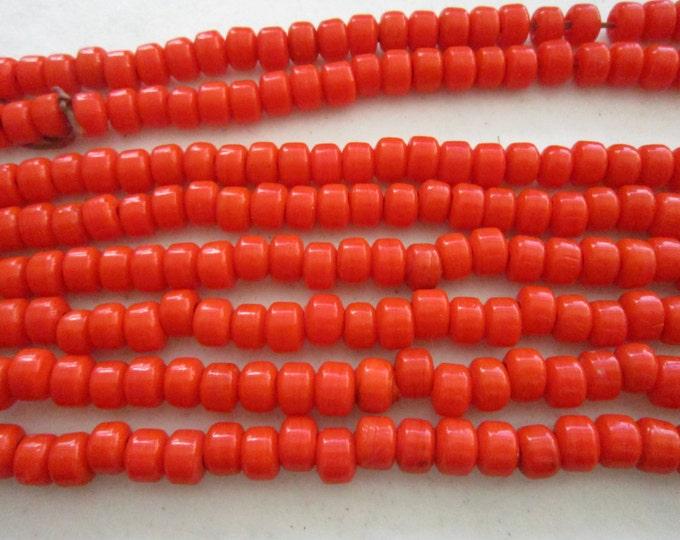 Glass Crow Pony Beads 9mm x 6mm ORANGE 100 per strand Jewelry/Craft Projects
