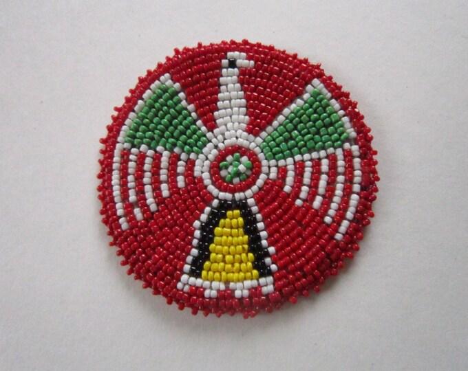 "3"" Glass Beaded Thunderbird Rosette Medallion Tribal Regalia Beadwork Craft 9D"