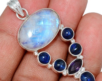 Moonstone  Pendant Kyanite Necklace 925 SS  Healing Crystal Boho Jewelry P333