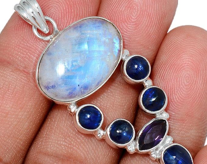 Moonstone  Pendant Kyanite Necklace 925 SS  Healing Crystal Boho Jewelry P333