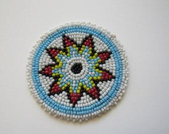 Beaded Rosette Medallion Tribal Regalia Beadwork Craft Sewing Leather Patch 4B