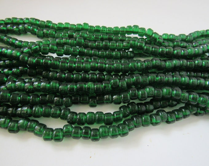 Glass Crow Pony Beads 9mm x 6mm Translucent Green 100 per strand Jewelry/Craft Projects