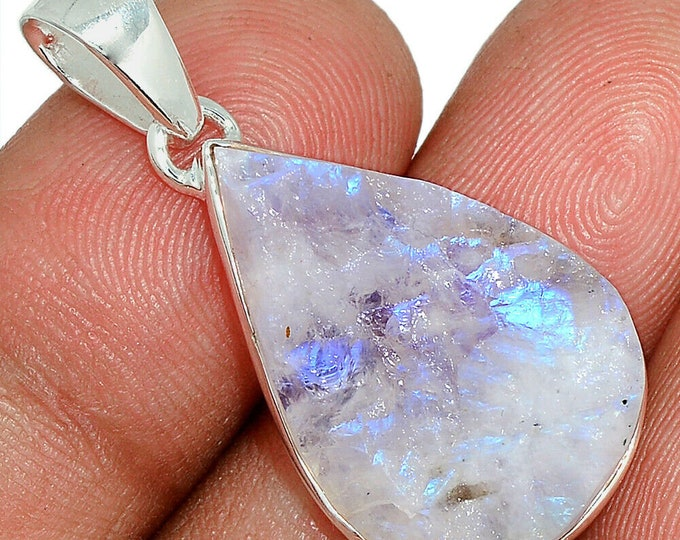 Rough Moonstone Pendant Necklace 925 Sterling Silver Crystal Boho Jewelry P411
