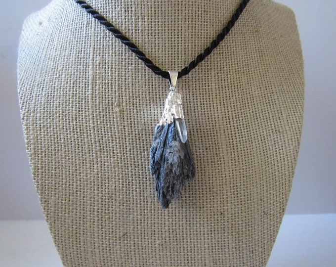 Black Kyanite Pendant Quartz Necklace  Silver Jewelry Crystal Boho Jewelry N895