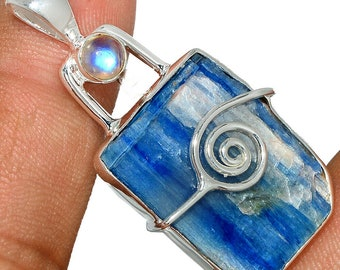 Kyanite Pendant Moonstone Necklace  925 Sterling Silver Crystal Boho Jewelry P446